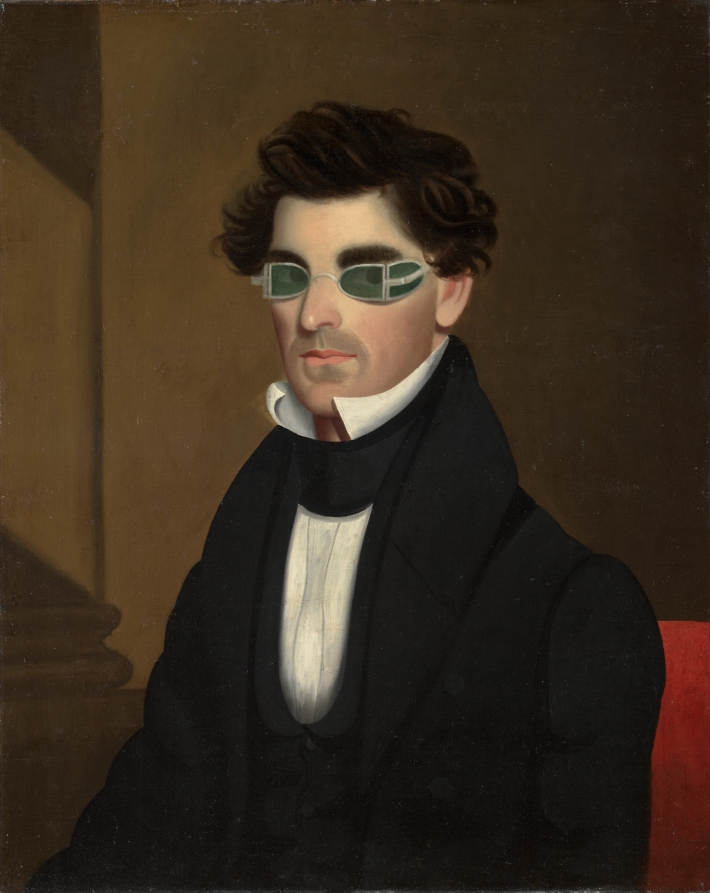 "Portrait of Nathaniel Olds, 1837. Image from museum's site. ""The green-tinted spectacles worn by Olds were designed to protect the eyes from the intensity of Argand lamps, a type of indoor light used during the early 1800s."""